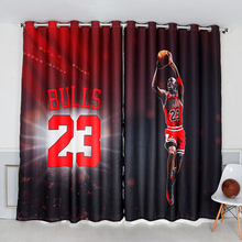 Custom Made 2x Grommet Drapery Drape Curtain Nursery Kid Children Room Window Dressing 200 x 260cm Basketball Jordan 23 Dark Red