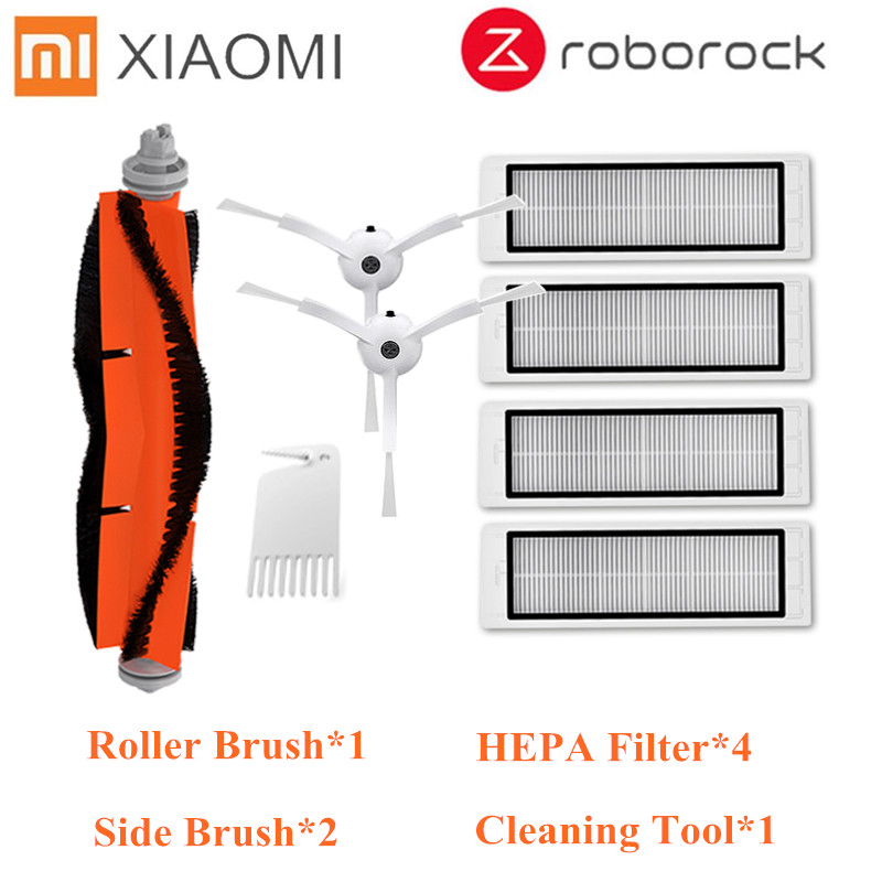 4 HEPA filter 2 side brush 1 main brush Suitable for xiaomi vacuum 2 roborock s50