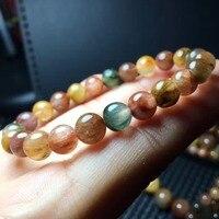 Wholesale 7 8mm Beautiful Natural Colorful Quartz Rutilated Stone Bracelets Healing Reiki Women Charming Fashion Jewelry