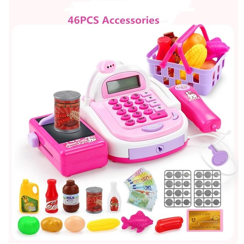 Pretend Play Cash Register Toys For Girl Multi-functional Kids Plastic Cash Register Cashier Toy Calculator Microphone Scanner цена