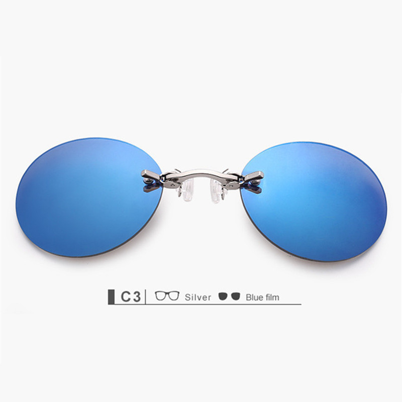 YOOSKE Clip On Nose Sunglasses Pria Vintage Hacker Empire Matrix Morpheus Rimless Sun Glasses Bulat Kacamata UV400 Biru
