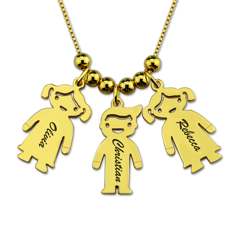 Cute Custom Name Collar Chain Gold Personalized Letter Kids Boy Girl Charm Necklace Necklaces Collier Ras Du Cou Gift for Mother