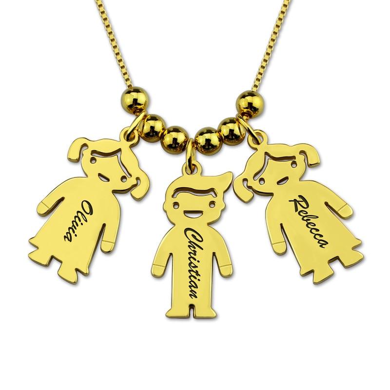 Mignon personnalisé nom Collier chaîne or personnalisé lettre enfants garçon fille charme Collier colliers Collier Ras Du Cou cadeau pour mère