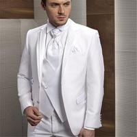 2018 white men suits Groom Tuxedos Notch Lapel Men's Suit White Groomsman Bridegroom Wedding Prom Suits (Jacket+Pants+Tie+Vest)