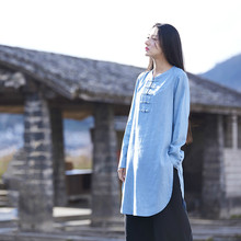 Cotton Linen Long Jacket Vintage Chinese Frog Retro Neutral Long-sleeved Women Tops