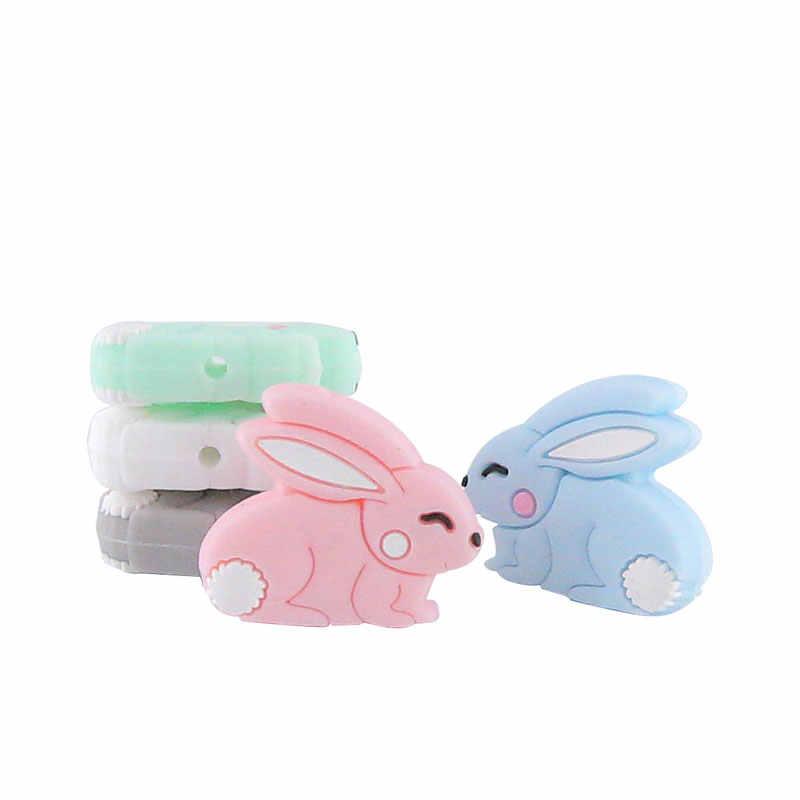 5 шт. мини Кролик Силиконовый Прорезыватель грызунок BPA бесплатно жемчуг силиконовый бисер ребенок прорезывание зубов DIY Соска-подвеска Прорезыватель для зубов товар для детей