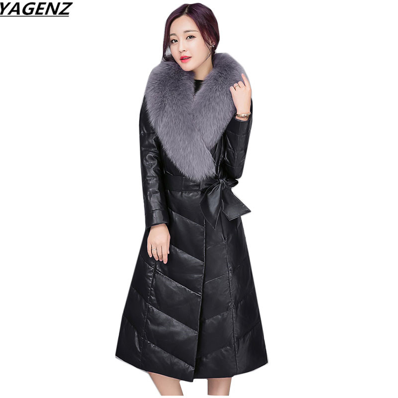 2017New Fashion High Quality   Leather   Jacket Women Imitation Fox Fur Collar Warm Winter Jacket Female Cotton Long Coats YAGENZ663