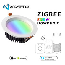 WASEDA ZIGBEE ZLL smart 9W LED RGBW RGB downlight APP controller with Amazon plus LED bulb rgb zll dimmable light AC100-240V(China)