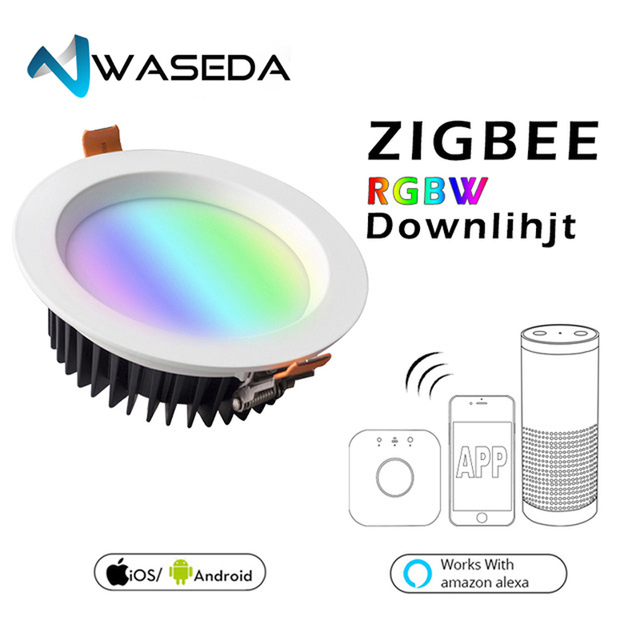 WASEDA ZIGBEE ZLL smart 9W LED RGBW RGB downlight APP controller with Amazon plus LED bulb rgb zll dimmable light AC100-240V