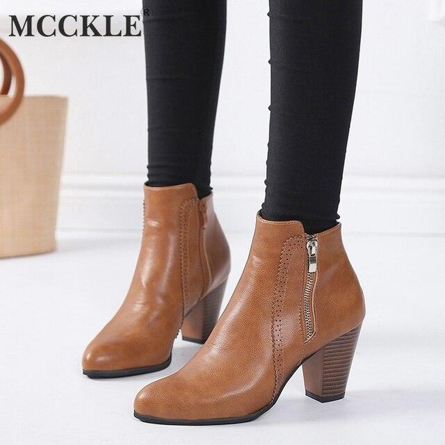 MCCKLE Kadın Sonbahar yarım çizmeler Takunya Yüksek Topuklu kadın ayakkabısı Rahat Fermuar Ayakkabı Kalın Topuk Moda Kadın Kısa Botas