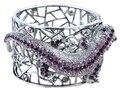 Fun Amethyst Crystal Crawling Gecko Lizard Rose Rhinestone Cuff Bracelets Animal Costume Bangles