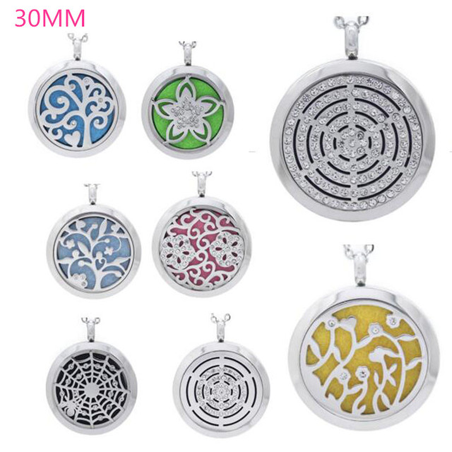 Crystal 8 designs face 100 real 316l stainless steel aroma pendants crystal 8 designs face 100 real 316l stainless steel aroma pendants 30mm essential oil diffuser aloadofball Images