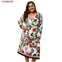 Summer Boho Flower Dress Fashion V-neck Stripe Long Sleeve Stretch Loose Women Plus Size Casual Wear Office Robe Femme 4XL