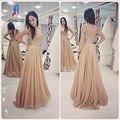 Glamorous Longo Champagne Lace Prom Vestidos de Festa Vestido de Noite Frisado Chiffon Apliques As Costas Abertas Vestido De Festa