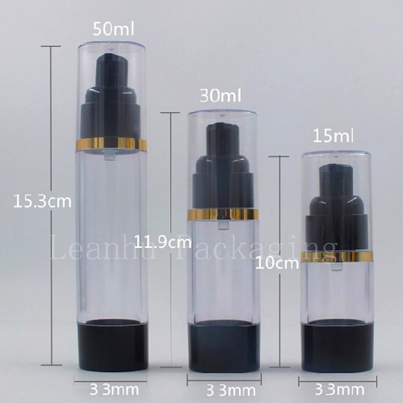 15ml 30ml 50ml  Black Airless Bottle Cosmetic Lotion Cream Pump Small Travel Skin Care Cream Container Press Dispenser Bottles-in Refillable Bottles from Beauty & Health    1