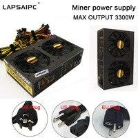 Lapsaipc 3300 Вт шахты машина специального источника питания Номинальная высокой мощности графика источника питания Поддержка 8 GPU 12 GPU 570 1060 470 480