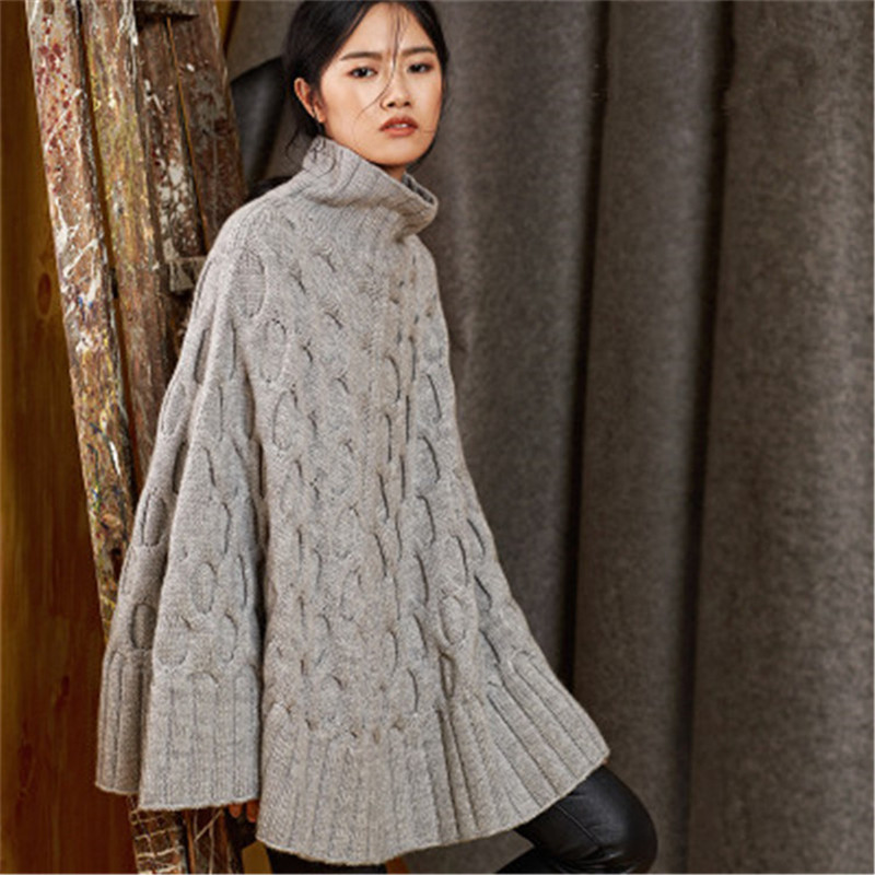 100% Hand Made Pure Wool Turtleneck Knit Women Fashion Solid Loose H-straight Sleeveless Cloak Sweater One&over Size