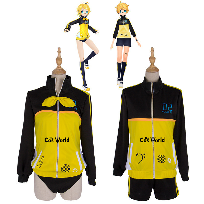 <font><b>Vocaloid</b></font> <font><b>Kagamine</b></font> <font><b>Rin</b></font> <font><b>Kagamine</b></font> Len Sportswear Gym Suit Uniform Outfit Anime Cosplay Costumes image