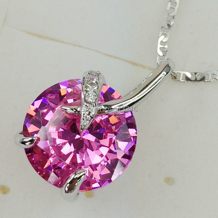 Fashion Jewelry Pink Cubic Zirconia Round Romantic Silver Plated Promotion Favourite Free shipping Wholesale Pendant R887