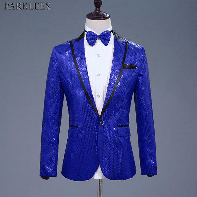 Mens One Button Royal Blue Sequin Dress Blazers With Bowtie Nightclub DJ  Prom Suit Jacket Men Host Banquet Party Stage Costume 45be72c498dc