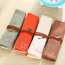 1Pcs Kawaii Retro pencil case Holder Pen Brushes Makeup pencil case bag Stationery for School office & school supplies недорого