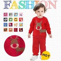 Autumn Winter 2014 Boys Girls Children Christmas Clothes Set Kids Fleece Clothing Set Infantil Conjunto De