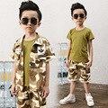 2016 Новый Корейский Военный Костюм Для Детей Летом Мальчик Три Комплекта Одежды Детская Одежда Мальчиков Ребенок