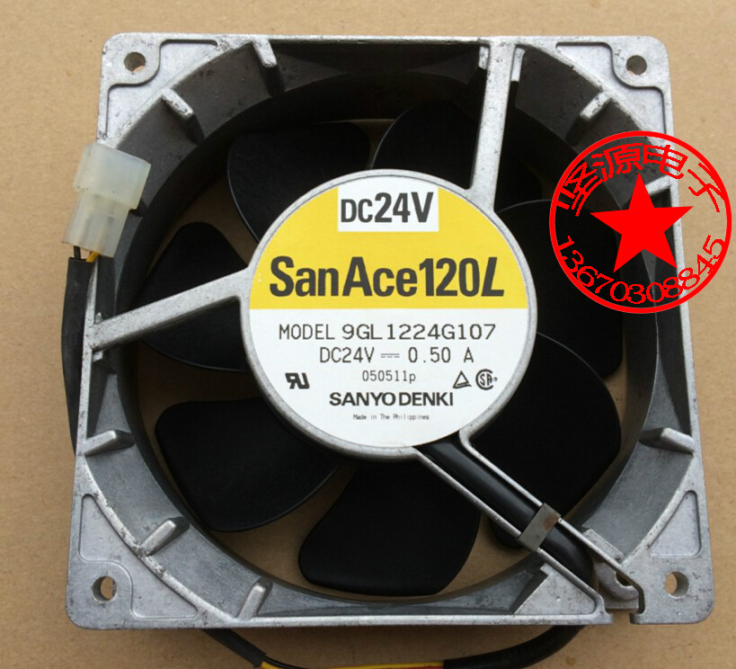 Sanyo 9GL1224G107 Server Square Fan DC 24V 0.50A 120x120x38mm 3-wire