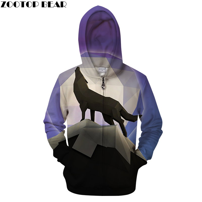 Geometry Wolf 3D Zip Hoodies Men Zip Hoody Casual Sweatshirt Print Tracksuit Pullover Coat Streatwear Autumn DropShip ZOOTOPBEAR