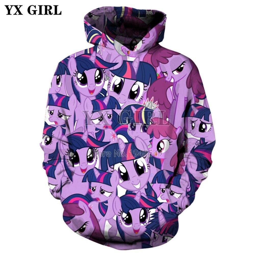 YX GIRL 2019 Fashion hoodies Cartoon My Little Pony 3D Full Print Men Women hoodie streetwear Casual Costumes sudadera hombre