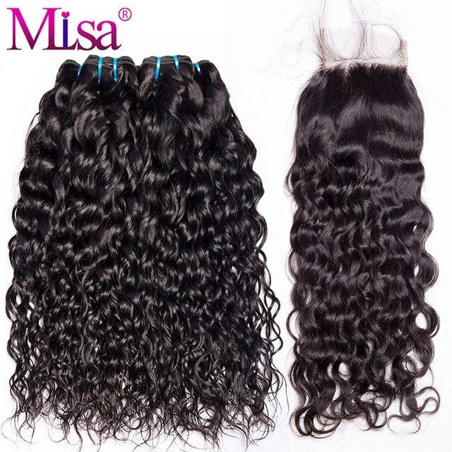 Water Wave Bundle With Closure 3 Bundle Human Hair Weave Free Part Lace Non Remy 4 Pcs Mi Lisa Peruvian Hair Bundle With Closure