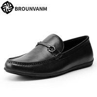 A Song Doug Shoes Slip On British Pedal Shoes Breathable Leather Loafer Male Leather Shoes Men
