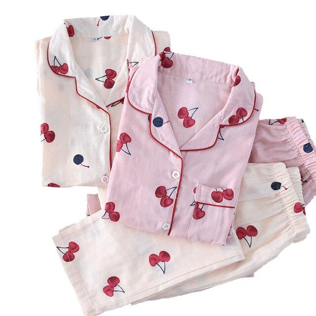 2019 春の女性のかわいい桜のプリントパジャマ Mujer 100% ガーゼ綿の長袖パンツ薄型パジャマセット薄型ホームウェアパジャマ