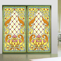 Custom size Window Glass Films Stained Frosted Privacy Window Film Door Stickers Rose Window Decorative