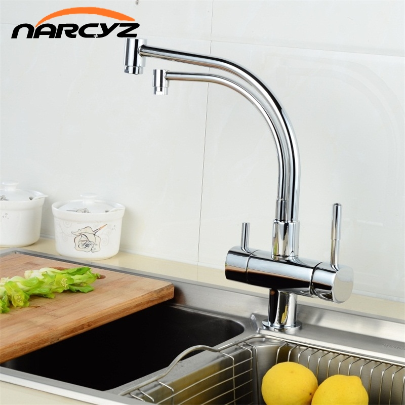 Narcyz Copper Chrome Polished Swivel Drinking Water Faucet 3 Way Water Filter Purifier Kitchen Faucets For Sinks Taps XT-30 sognare 100% brass marble painting swivel drinking water faucet 3 way water filter purifier kitchen faucets for sinks taps d2111