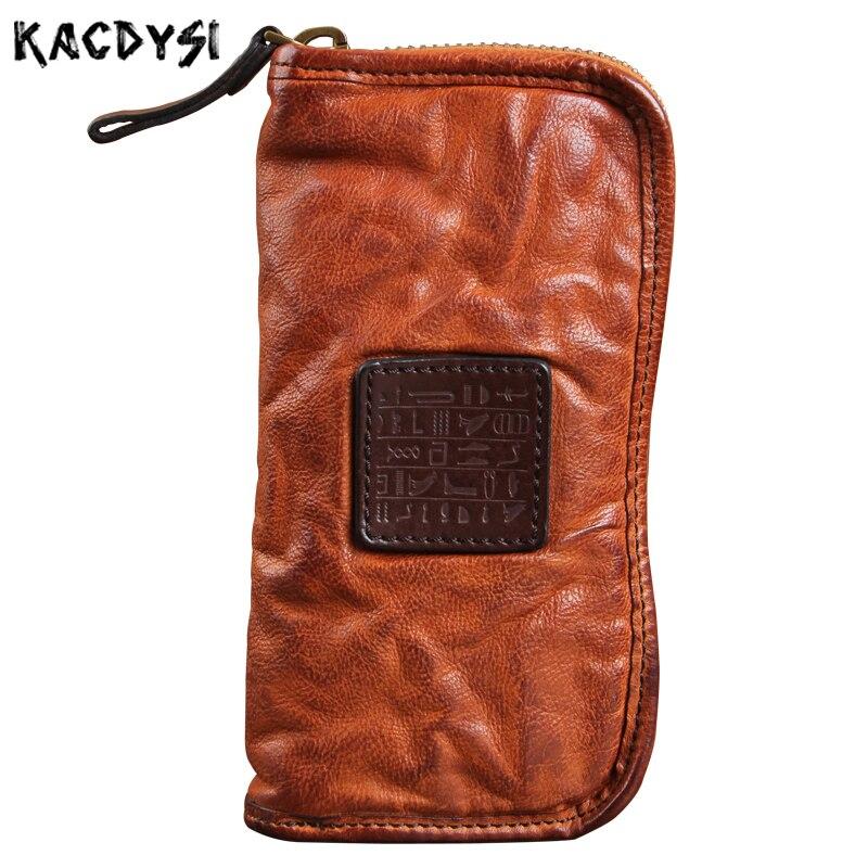 Luxury Genuine Leather Men s Wallet Vintage Unisex Long Cash Purse Zipper Natural Cowskin Leather Male