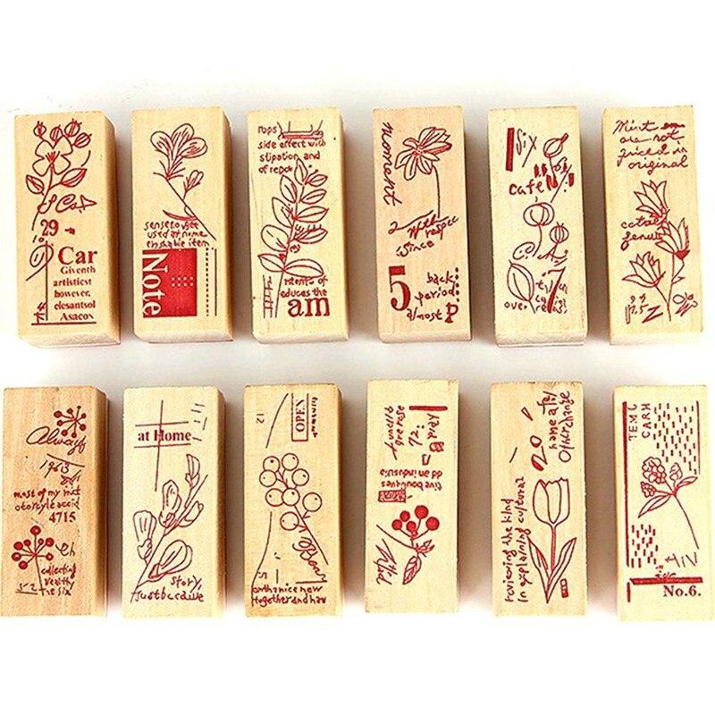 vintage strip wooden rubber stamp Kids DIY Handmade Scrapbook Photo Album, students Stamps Arts, Crafts gift Plant