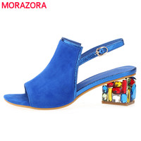 MORAZORA new fashion high quality summer sheepskin suede leather women sandals solid color rhinestone med heels wedding shoes