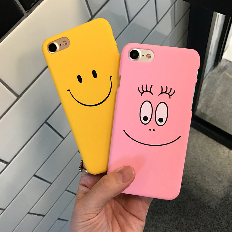Cartoon Case for iPhone 7 Phone Cases Cute Candy colors Big eyes Smiley face Hard PC Cover For iPhone 6 6s 7 8plus 5 5s capa