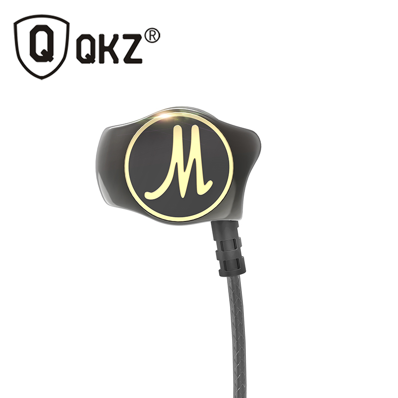 Earphone Dalam telinga QKZ DM7 Heavy Bass HIFI Earphone DJ Asal Dikenakan Fuzzy Earbuds Noise Isolating fone de ouvido