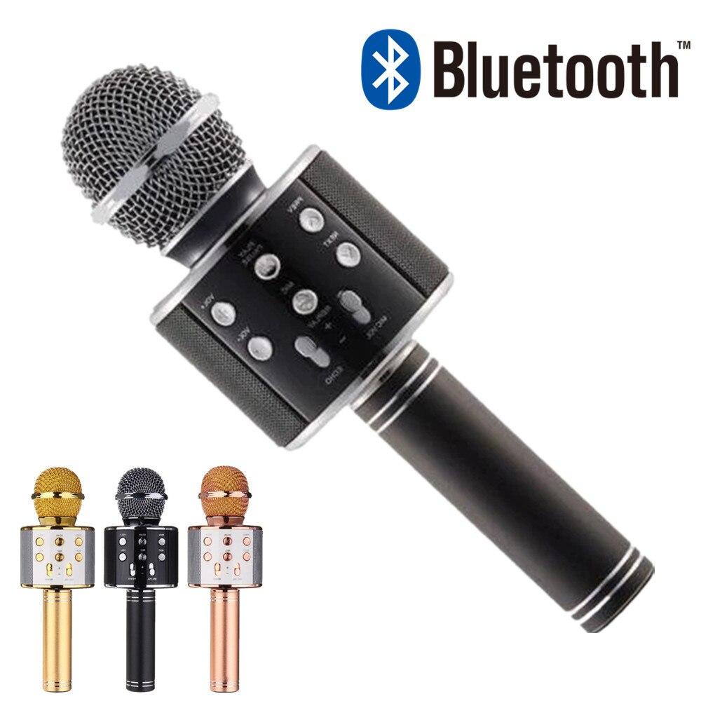 Ws858 bluetooth mikrofon handheld sem fio karaoke microfone telefone player microfone alto-falante gravação música ktv microfone para iphone pc