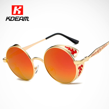 Luxury Baroque Carved Round Sunglasses Polarized Top Shield