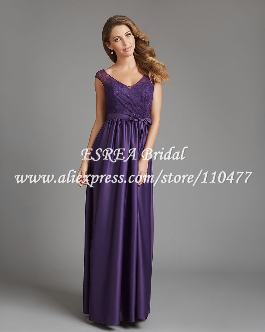 Cap sleeves elegant eggplant purple bridesmaid dresses satin and cap sleeves elegant eggplant purple bridesmaid dresses satin and lace long bridesmaid dress low back sexy prom party dress mg792 in bridesmaid dresses from ombrellifo Image collections