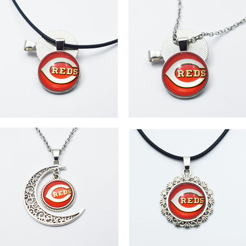 10PCS 3Style Sports Baseball Cincinnati Reds Pendant Necklace Time Gem Glass Baseball Pendant For Fans Adornment