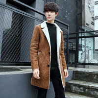 Cashmere Wool Winter Trench Mens Long Winter Coats Slim Fir Mens Suede Long Jackets Mens Brown Abrigo Hombre Vintage Overcoats
