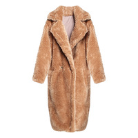Faux Fur Teddy Coat Jacket Elegant Women Long Shaggy Coat Winter Plush Lamb Fur Coat Female Outerwear Overcoat