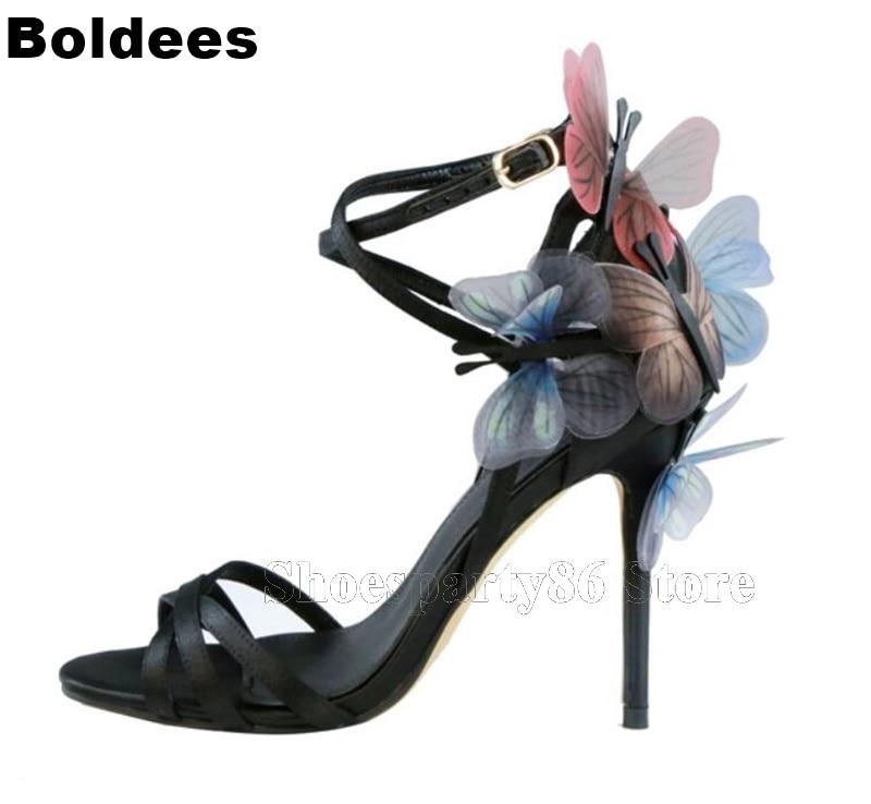 все цены на Top Quality Satin Leather Platform Thin High Heel Butterfly Winter Ankle Wrap Straps Summer Sandals Women