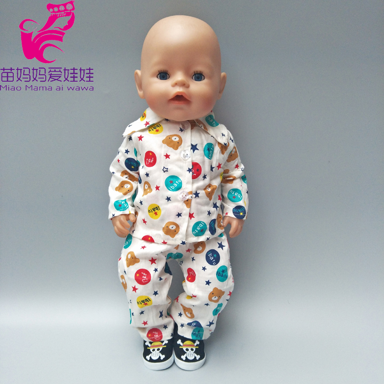 Cotton Pajama set clothes and pants for 43cm Zapf Baby Born Doll 18 inch 45Cm american girl Doll Clothes baby toy gift 1pcs set winter dress for for american girl doll clothes for 18 inch doll christmas girl s gift aug 15