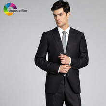 Black Business Men Suits For Wedding Groom Party Formal Slim Fit Prom Tailored Made Tuxedo Best Man Blazer Terno Costume 2 Piece