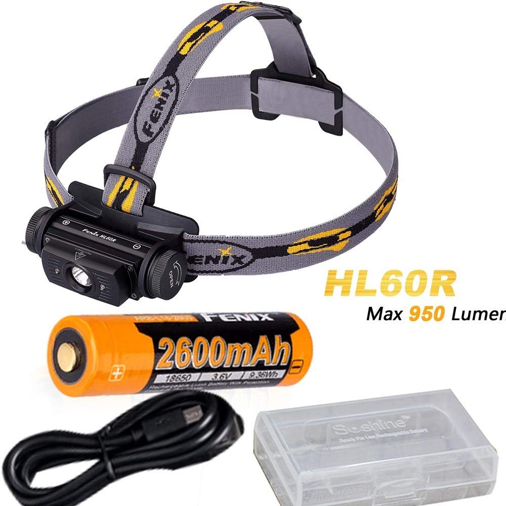 Fenix HL60R 950 Lumen USB rechargeable CREE XM-L2 T6 LED Headlamp with Fenix 18650 rechargeable Li-ion battery fenix hp25r 1000 lumen headlamp rechargeable led flashlight